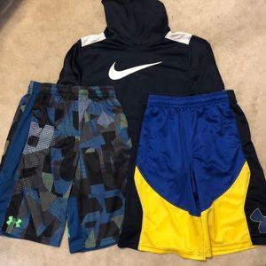 Boys Nike/U. Armour shorts and sweatshirt bundle